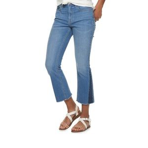 American Rag Two Tone High Rise Kick Flare Jeans